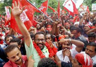 LDF supporters celebrating their victory in Assembly polls in Thrissur.