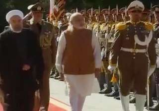 Prime Minister Narendra Modi was today accorded a ceremonial welcome as he met Iranian President Hassan Rouhani for talks to deepen trade, investment and energy ties.