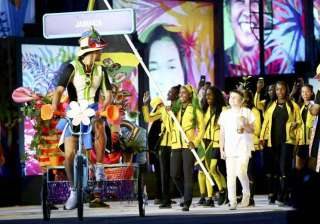 It's Jamaica and it's not possible they will have something distinguished in their entry. The Jamaican athletes enter the Rio 2016 Olympics ceremony.