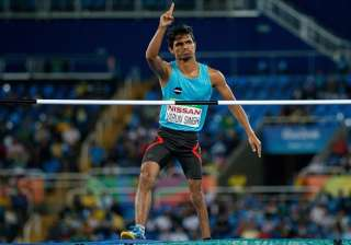 Bhati Varun Singh of India acknowledging support in the men's high jump - T42 final in the Olympic Stadium during the Paralympic Games in Rio de Janeiro, Brazil, on September 9, 2016