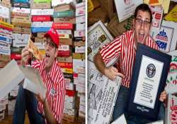 know the man with the world s largest pizza box collection