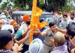 sikh protestors clash with police 15 injured