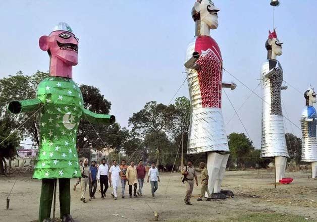 An effigy representing Pakistan erected with the effigies of Ravan, Meghnad and Kumbkaran on the eve of Dussehra celebrations in Patiala