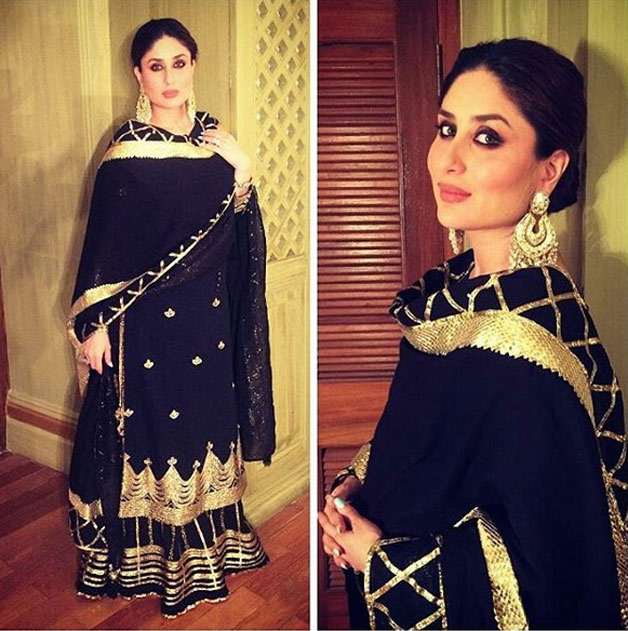 Begum Pataudi looks ethereal in black and gold sharara designed by Sukriti and Akriti. She completed her look with heaving danglers and smoky eyes.