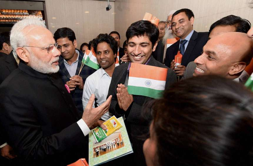 PM Modi meeting the Indian community at a hotel in Tokyo on Thursday.