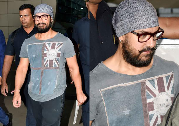 Superstar Aamir Khan looked every bit of casual as he landed in Mumbai. The superstar recently attended the wedding of wrestler Geeta Phogat, the inspiration of his upcoming movie 'Dangal'. The wedding became a talking topic of the town due to Aamir's presence and pictures showed he basked in the celebrations.