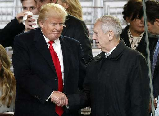 President Donald Trump, left, shakes hands with Defense Secretary-designate James Mattis as they view the 58th Presidential Inauguration parade for President Donald Trump in Washington.