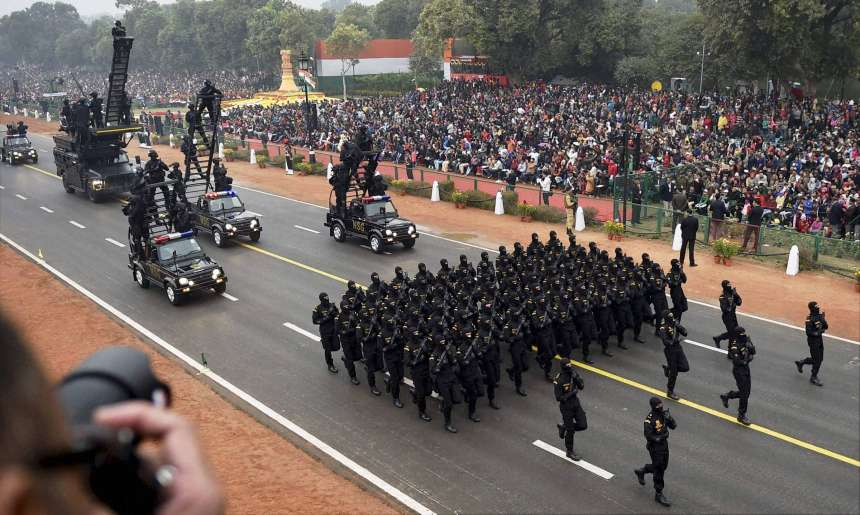 NSG commandos take part during the 68th Republic Day Parade at Rajpath.