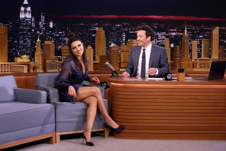 Earlier, she had some Holi fun at The Late Night Show With Jimmy Fallon, looking comfortable and yet, not any less fashionable in a blue Fendi mini skirt as she celebrated Holi smearing colours on Fallon.