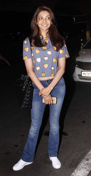 Kajal Aggarwal was spotted in a no-make up look. The crop top looked good on her figure.