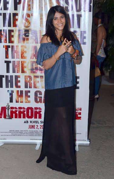 The soap queen Ekta Kapoor was spotted in a demin top and a see-through black skirt.