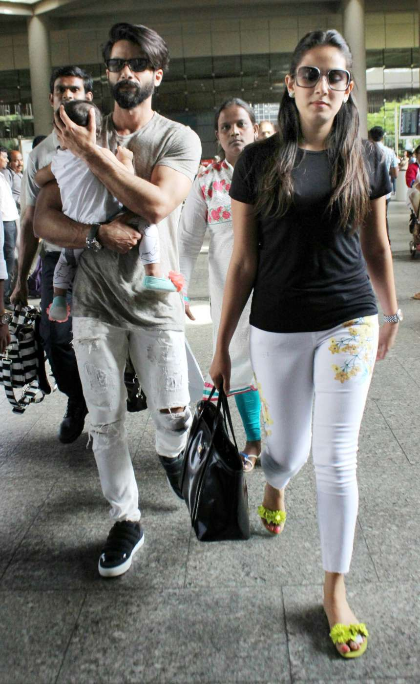 Shahid Kapoor and Mira Rajput made stylish appearances along with their adorable little angel Misha.