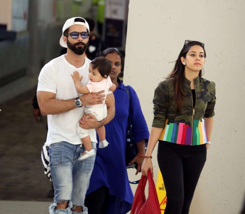 Shahid Kapoor arrived with wife Mira Rajput and daughter Misha.