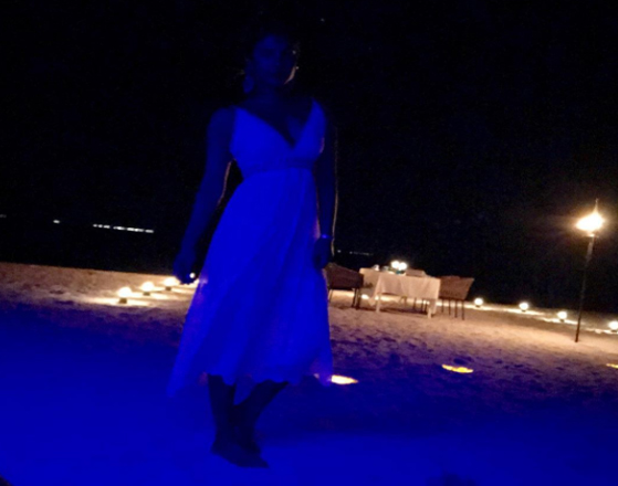 Priyanka seems to be completely in a party mood and the actress shared a cool pic standing on a beachside drenched in a blue light. she captioned it as, ''Mermaid under the stars... #birthdayfeels #thechopravacation.''