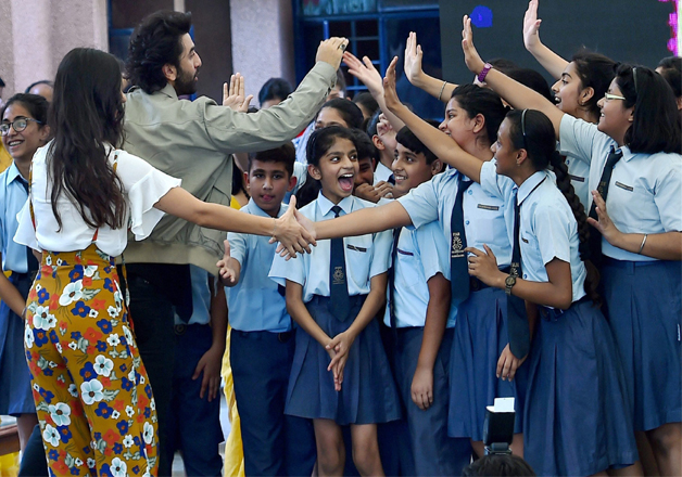 Students at Ryan Public School in New Delhi had a gala time when Ranbir and Katrina shaked hand and spent quality time with students.