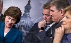 From left, Sen. Susan Collins, R-Maine, Sen. Jeff Flake,