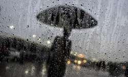 A man walks with an umbrella in monsoon rain, in New Delhi