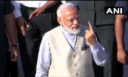 PM Modi after casting his vote at Nishan High School,