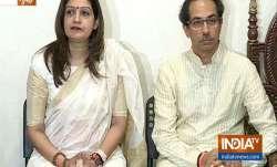 Priyanka Chaturvedi and Uddhav Thackeray addressing the