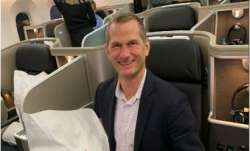 A passenger inside Qantas' New York Sydney flight