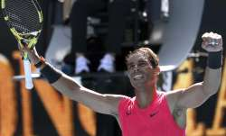 Spain's Rafael Nadal celebrates after defeating Bolivia's
