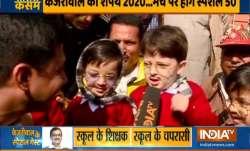 Little 'muffler men' wait to meet Arvind Kejriwal ahead of swearing-in ceremony | Watch