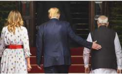 US President Donald Trump with his wife Melania and PM Narendra Modi prior to the meeting in Hyderab