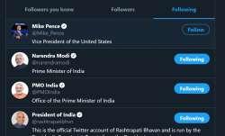 White House official twitter handle follows Prime Minister Narendra Modi