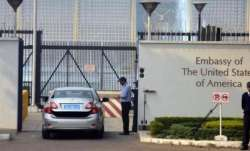 A file photo of one of the entrances to the US embassy in