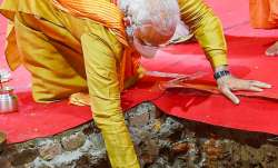 Ayodhya: Prime Minister Narendra Modi performs Bhoomi Pujan at 'Shri Ram Janmabhoomi Mandir', in Ayo
