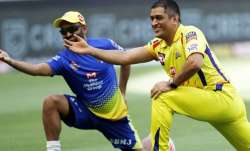 CSK skipper MS Dhoni with Monu Kumar Singh