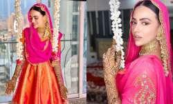 Photos of Sana Khan from mehendi ceremony