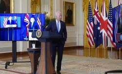 Joe Biden with Australian PM Scott Morrison and British PM
