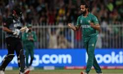 Pakistan's Imad Wasim celebrates the dismissal of New
