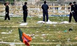 Security officials inspect at Patna's Gandhi Maidan after