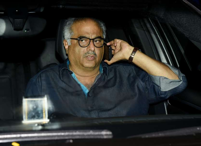 Father Boney Kapoor arrived to enjoy her daughter's first film at Yash Raj studios.