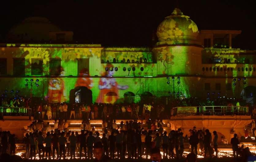UP Chief Minister Yogi Adityanath lighted lamp at Ram ki Paidi as 'Deepotsava' celebrations in Ayodhya.