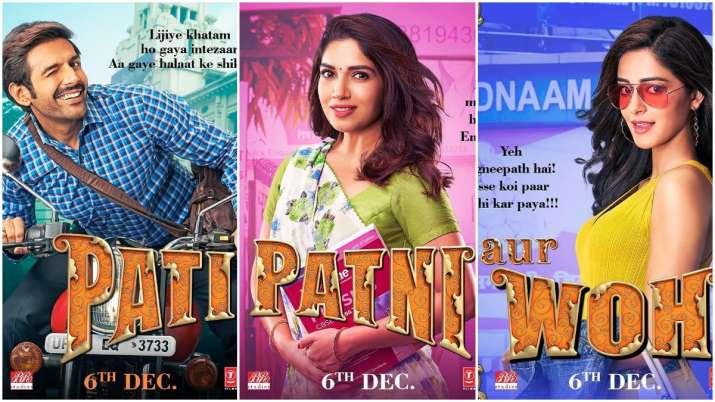 Pati Patni Aur Woh Poster: 'Pati' Kartik Aaryan, 'Patni' Bhumi and 'Woh' Ananya announce release dat